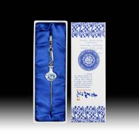 中国风青花瓷吊坠书签 创意古典直杆金属书签 外事出国礼品送老外小礼品