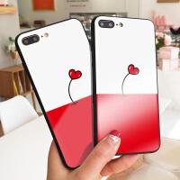 简约爱心苹果7plus手机壳简约镜面玻璃iPhone6S保护套XS MAX硅胶软边硬壳7创意彩绘X软套8p情侣女款潮新