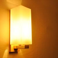 【满199-100】创意木灯 木艺楼梯 玄关过道灯 卧室床头灯 玻璃实木壁灯YX-LMD-2117