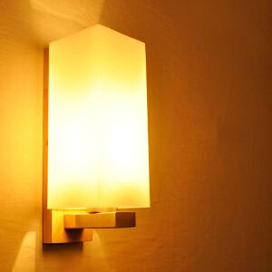 【每满100-50】创意木灯 木艺楼梯 玄关过道灯 卧室床头灯 玻璃实木壁灯YX-LMD-2117