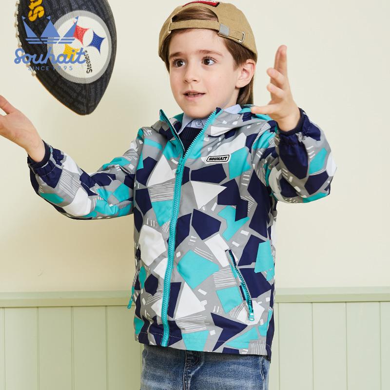 【后台返券1件2.5折价:99元】souhait水孩儿童装秋季新款男童风衣外套时尚印花连帽风衣外套儿童风衣外套 内里柔软舒适