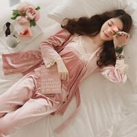 秋性感蕾丝花边V领吊带金丝绒睡衣女长袖睡袍家居服三件套套装