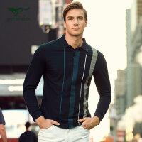 七匹狼T恤 秋季中青年男士时尚休闲翻领竖条纹丝光棉长袖T恤男装