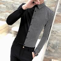 2018春装新款男士长袖衬衫韩版条纹拼接衬衣男修身个性寸衫潮