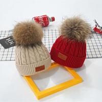 婴儿帽子0-3-6-12个月毛球秋冬儿童毛线帽男女宝宝帽子保暖潮