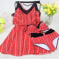 性感泳衣女士大码比基尼三件套一字肩连衣裙温泉韩国小胸聚拢泳装 红色