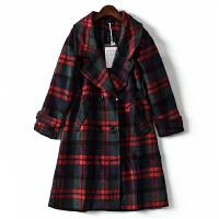 秋冬新款女装韩版气质百搭拼色格子双排扣松紧腰毛妮外套JY8827