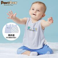 【3件3折 到手价:77】Pawinpaw卡通小熊童装夏款男女宝宝2件套背心婴幼儿圆领上衣