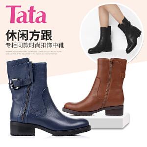 Tata/他她 年专柜同款时尚牛皮革女靴2LV62DZ5专柜2