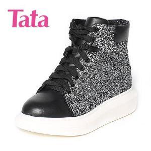 Tata/他她专柜同款黑亮片布女休闲靴2RP41DD6