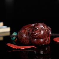 红木小叶紫檀手把件老料手工雕刻小猪把玩件木雕汽车挂件