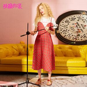 【秒杀价:144】妖精的口袋少女裙新款格子荷叶边假两件裙短袖连衣裙女