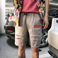 18夏季水洗简约贴标短裤沙滩休闲潮流个性男裤子短裤潮5CM男裤子