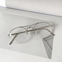 韩版学院复古圆形金属半框平光镜文艺小清新男女配眼镜框架