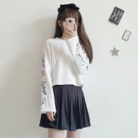 秋装女装韩版花朵刺绣喇叭袖长袖短款套头卫衣新款学生上衣潮