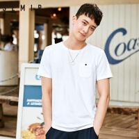 森马短袖t恤男2018夏季新款男装韩版纯色白体恤个性青年帅气衣服