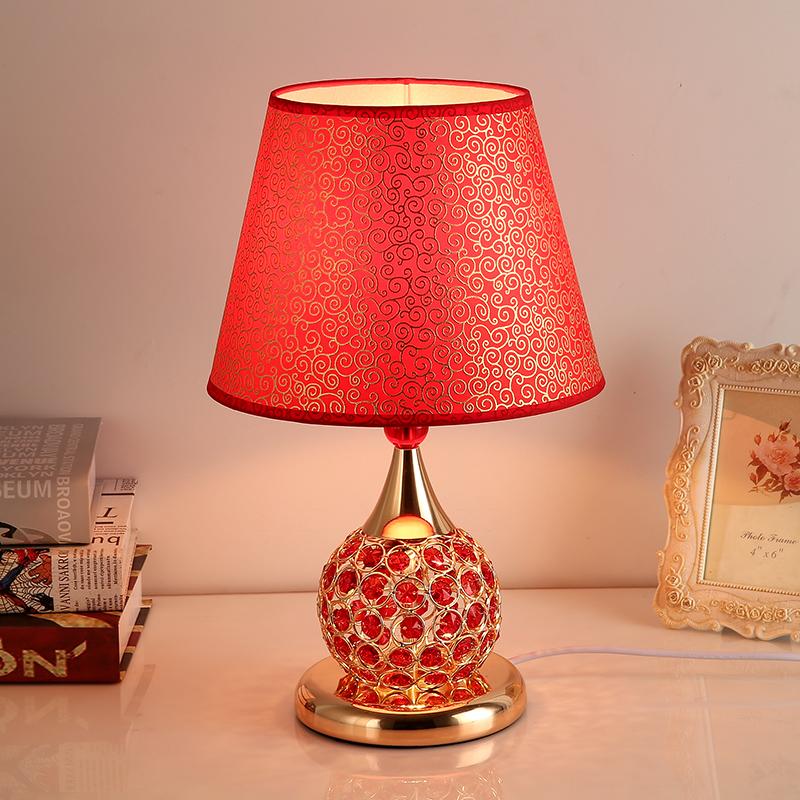 欧式婚庆红色水晶奢华梦幻浪漫结婚喜庆创意装饰台灯 按钮开关