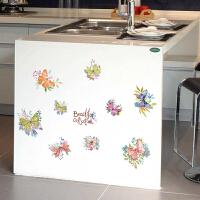 蝴蝶墙贴 手绘贴画温馨卧室客厅电视家装饰贴花可移除自粘贴