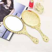 手柄化妆镜 手拿美容手柄镜子 随身便携韩国复古雕花化妆镜SN7255