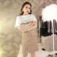 格子套装裙潮 2018夏季新款网纱袖T恤高腰显瘦A字裙半身裙2件套女