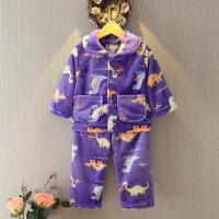 儿童法兰绒睡衣秋冬季中大男女童珊瑚绒家居服套装小孩宝宝卡通
