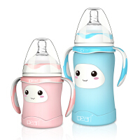 初生宝宝奶瓶 婴儿奶瓶玻璃宽口径感温保护套