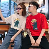 情侣装夏装2018新款男女韩版宽松圆领短袖T恤可爱卡通半袖潮体恤