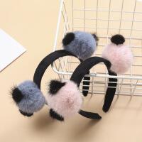 包贝尔女儿饺子网红同款熊猫发箍可爱超萌公仔毛球发夹卡饰品旅游