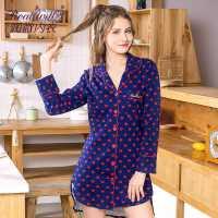 润微睡衣女长袖春秋款舒适印花家居服针织棉居家套装长袖