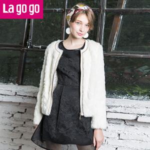 拉谷谷冬季新款白色保暖人造皮草外套女短款
