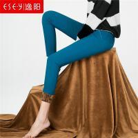 逸阳2018秋冬新款加绒保暖修身打底裤女外穿韩版小脚长裤R3D283821
