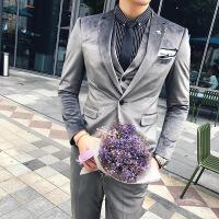 春秋款西服套装男士韩版修身丝绒西装三件套新郎结婚礼服商务潮流
