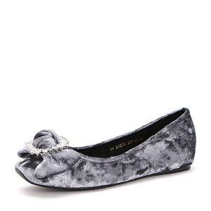Belle/百丽2017夏时尚丝绒舒适芭蕾舞鞋天鹅绒女单鞋30801BQ7