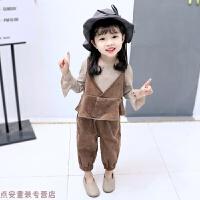 冬季女宝宝套装婴儿套装0-1-2-3-4岁女童秋装女童3件套潮流韩版时尚秋冬新款 棕色3件套