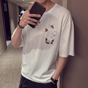 夏季短袖t恤男士打底衫2019新款韩版潮流上衣服五分半袖宽松体恤