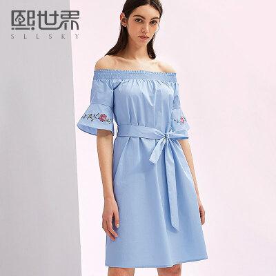 熙世界中长款五分袖一字领刺绣喇叭袖连衣裙女2018年夏装新SL052下单立减100