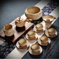 家用台湾粗陶日式复古功夫茶具整套装茶道茶杯陶瓷茶壶红茶艺仿古 耕耘树艺礼盒装