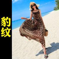 沙滩裙女夏2018新款大码显瘦波西米亚海边度假泰国雪纺长裙连衣裙