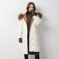 【一件三折 到手价:758.7】yaloo/雅鹿羽绒服女中长款2018冬季新款韩版时尚貉子毛领修身加厚