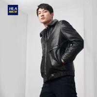 HLA/海澜之家立翻领PU夹克2019冬季新品净色保暖有型外套男