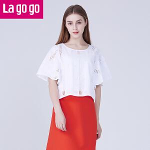 Lagogo夏装新款甜美显瘦白色镂空圆领休闲五分袖女上衣宽松T恤