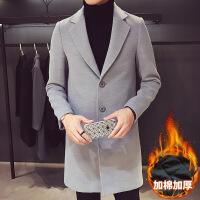 男士风衣中长款韩版修身潮流帅气毛呢大衣秋冬季新款呢子外套男装
