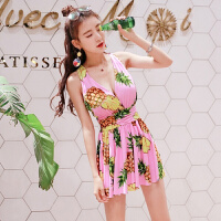 同款菠萝性感泳衣女大码连体裙式显瘦遮肚大胸钢托聚拢泳装 花色