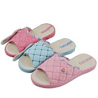 [当当自营]家丽芙韩式 室内家居 布艺拖鞋 亚麻拖鞋 经典格纹拖鞋 女式 30848 3种花色