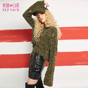 妖精的口袋Y冬装新纯色套头长袖半高领保暖宽松毛衣女