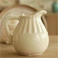 欧式田园家居装饰品裂纹陶瓷工艺品摆设白色台面奶壶花瓶花器摆件