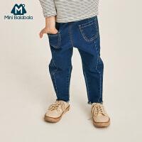 【2件3.8折】迷你巴拉巴拉男童牛仔裤2019春装新款儿童宝宝舒适透气纯棉长裤潮