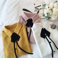 大码宽松职业白色衬衣女春装新款喇叭袖百褶雪纺衫百搭蝴蝶结上衣