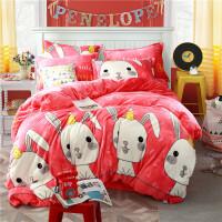 冬季珊瑚绒四件套1.8m床加厚保暖卡通法莱绒2.0米被套床单法兰绒 桔红色 小兔精灵