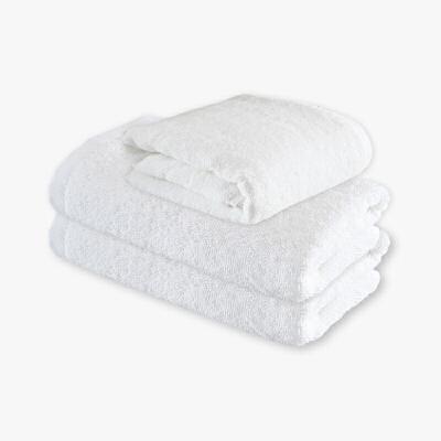 当当优品 印度长绒棉酒店浴巾面巾3件套  王子白